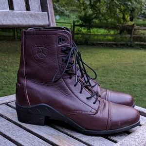 Ariat Dark Red Leather Lace Up Boots